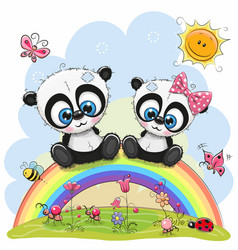 two pandas are sitting on the rainbow vector image vector image
