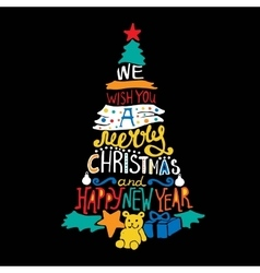 Typographic christmas and new year tree gifts vector