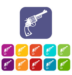 Vintage revolver icons set flat vector