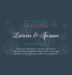 Wedding invitation with flower style background vector