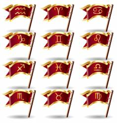zodiac astrology symbol flags vector image