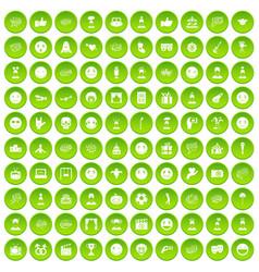 100 emotion icons set green circle vector