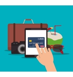 Suitcase camera tablet credit card cocktail vector