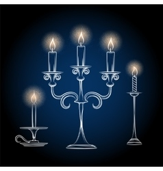 Gothic antique chandeliers sketch with light vector image
