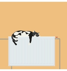 Cute cat relaxing sleeping on battery platform vector