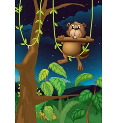 A beaver playing in the woods vector