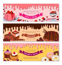 cake dessert and ice cream banner set design vector image