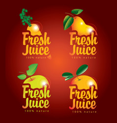 Set of fresh juices with pictures of fruit vector