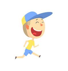 Happy smiling cartoon boy running kids outdoor vector