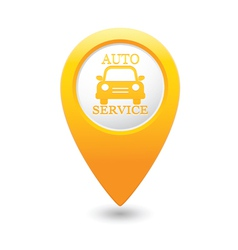 Auto service icon on yellow pointer vector