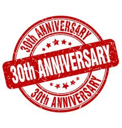30th anniversary red grunge stamp vector