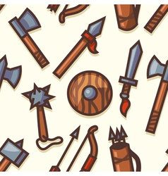 Seamless pattern with medieval weapons icons vector