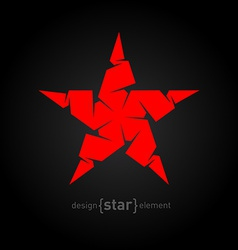 Pseudo volume origami red star design element vector