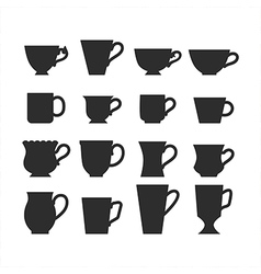 Set of mugs black silhouettes of dishes symbols vector