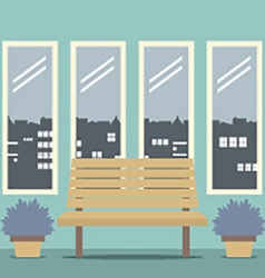 Wooden chair with four glasses windows vector
