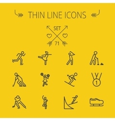 Sports thin line icon set vector