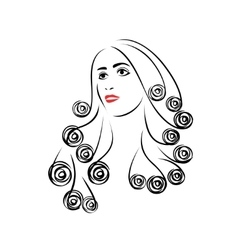 Woman with beautiful hair vector