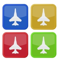 Set of four square icons with fighter vector
