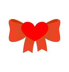 Bow love red ribbon with knot of love symbol of vector