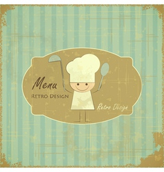 Vintage menu card design with chef vector