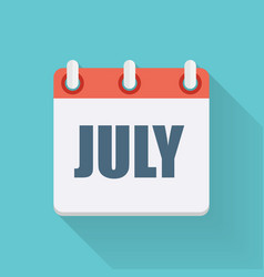 July dates flat icon with long shadow vector