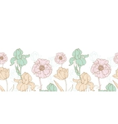 Vintage flowers pastel horizontal border vector