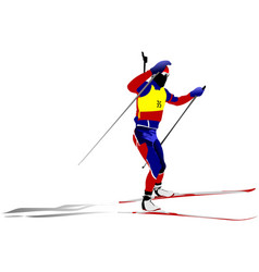 biathlon runner colored silhouettes vector image vector image