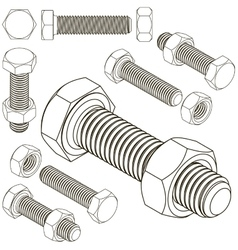 Bolt and nut set all view isometric vector