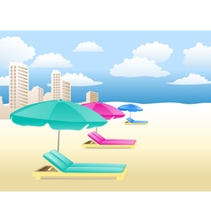 Chairs with umbrellas vector