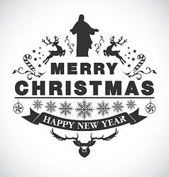 Christmas greeting decorative emblem vector image vector image