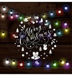 Christmas lights poster with shining and glowing vector