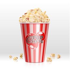 Cinema food popcorn in disposable bowl realistic vector