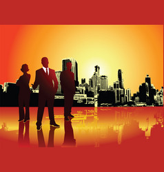 Corporate or business team with urban background vector
