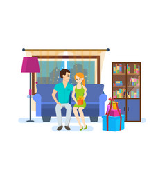 Couple on background of the interior of the room vector