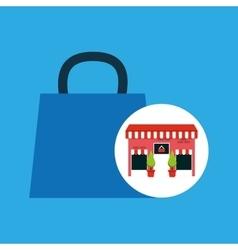Cute store shopping bag gift vector