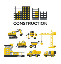Digital construction building tracks vector