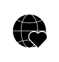 Earth globe diagram and heart cartoon icon vector