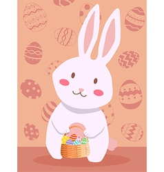 Easter Rabbit Carrying Easter Egg Basket vector image