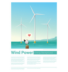 Energy concept background with wind turbine 35 vector