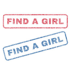 find a girl textile stamps vector image vector image