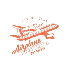 Flying club red emblem design vector