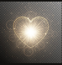 Gold background with a heart vector