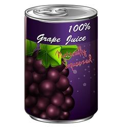 Grape juice in aluminum can vector image