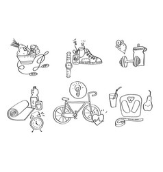 Hand drawn sport equipment icons vector