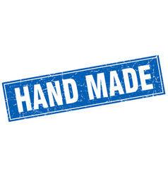 Hand made blue square grunge stamp on white vector