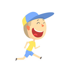 Happy smiling cartoon boy running kids outdoor vector