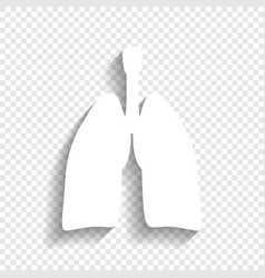 Human anatomy lungs sign white icon with vector