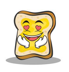 in love bread character cartoon vector image