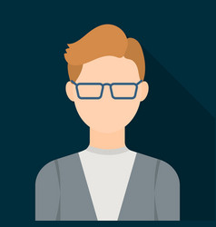 Man with glasses icon flat single avatarpeaople vector