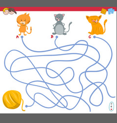 maze game with kitten characters vector image
